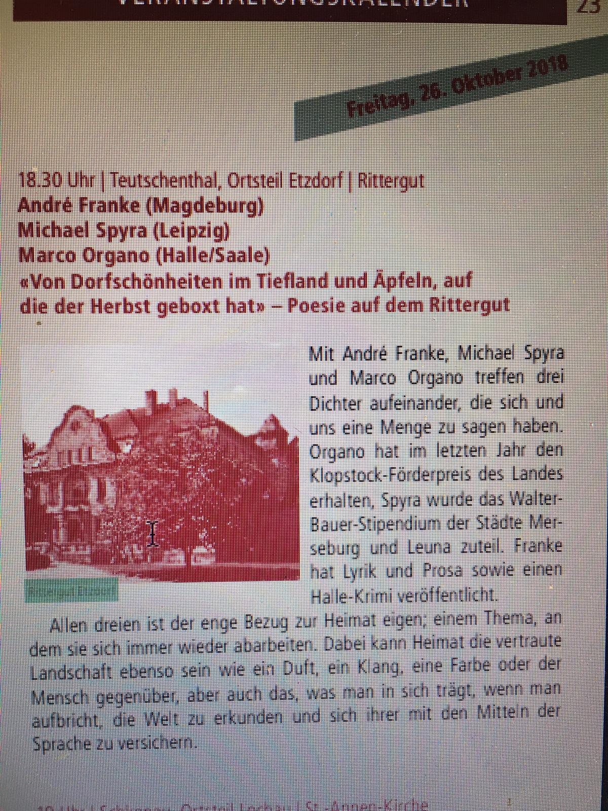 Poesie auf dem Rittergut Etzdorf